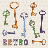 Retro keys collection — Stock Vector
