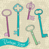 Collection of retro keys — Stock Vector