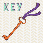 Retro key with ribbon — Stock Vector