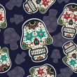 Pattern with sugar skulls — Vecteur #46219635