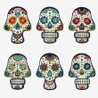 Sugar skulls collection — Stock Vector