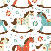 Cute rocking horses background — Stock Vector