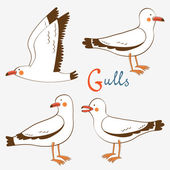 Seagulls collection — Stock Vector