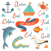 Cute sea alphabet — Stock Vector