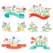 Floral banners and ribbons — Stock Vector