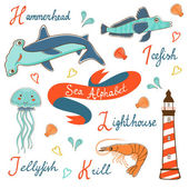Cute colorful sea alphabet — Stock Vector