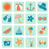 夏天的图标集合 — 图库矢量图片