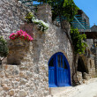 Greek House with Blue Door and Flowers — Stockfoto