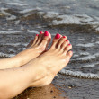 Female Feet on the Beach - Stock Photo