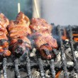 Grilling Chicken on Sticks — Stock Photo