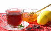 A Cup of Hot Tea with Honey and Lemons — Stock Photo
