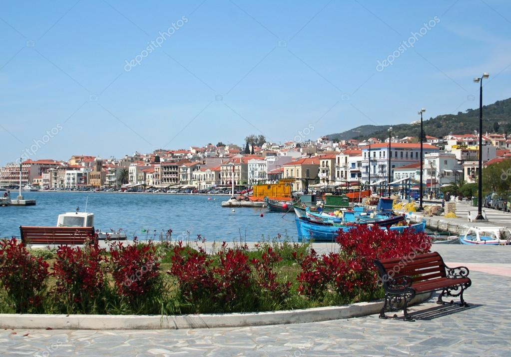 Samos Port View captured one sunday morning when there is no crowd around in Samos,Greece.  Stock Photo #18619069