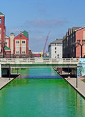 Downtown Indianapolis Canal dyed green for the St Patrick's Day — Stock Photo