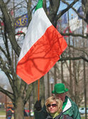 Indianapolis,Indiana-March 16- walking with Irish Flag at St Patrick's Day.March 16,2007 in Indianapolis,IN. — Stock Photo