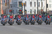 Indianapolis Metropolitan Police Motorcycle Drill Team at St Patrick's day Parade — Stock Photo