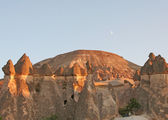 Fairy Chimneys of Cappadocia and The Moon — Stock Photo