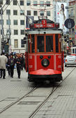 Red Trams of Istanbul,Turkey — Stock Photo