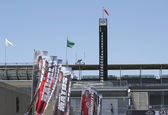 Flags of Race Car Drivers and Stat Tower-pole of IMS — Stock Photo
