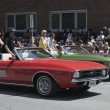 Stock Photo: Rock Star Slash on 1971 Ford Mustang during Indy 500 Festival Parade