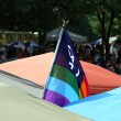 Pride Flag between Festival Tenths at Indy Pride Festival — Stock Photo