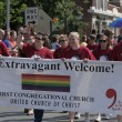 Stock Photo: First Congregational Church Members walking at Indy Pride