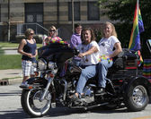 Female Motorcycle Riders with Rainbow Flag at Indy Pride Parade — Stock Photo