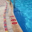 Swimming Pool with Metal Ladder and Warning — Stock Photo #28045867