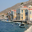 Typical Symi Houses and Boats by the Sea — Stock Photo