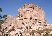 Cave Dwellings and Old Castle in Uchisar,Cappadocia — Stock Photo