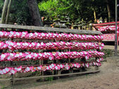 Heart shaped ema plaques ( wish plaques ) at shrine in Kyoto, Japan — Stock Photo