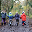 Children walking - Stock Photo