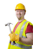 Carpenter Contractor Man Hardhat Isolated on White — Stok fotoğraf