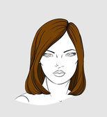 Face of woman with medium long hair — Stock Vector