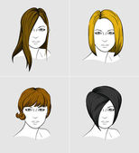 Faces of four women with different hair styles — Vecteur