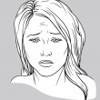 Stock Vector: Sad face of young woman
