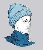 Girl with winter cap — Stock Vector