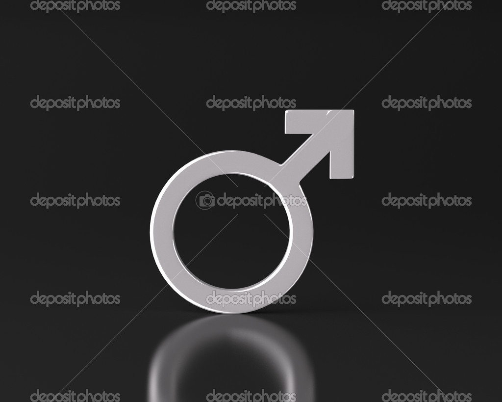 This illustration is a 3d render representing a male gender symbol — Stock Photo #14553083