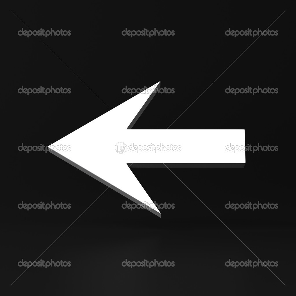 This illustration is a 3d render representing left arrow on dark background — Stock Photo #14875069