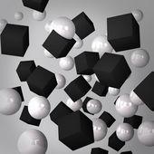 Gri arka plan siyah küpler ve beyaz küreler yapılmış — Stok fotoğraf