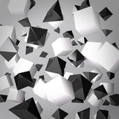 Abstract gray background made of white cubes and black prisms — Stock Photo