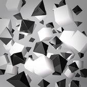Gri arka plan beyaz küpleri ve siyah prizmalar yapılmış — Stok fotoğraf