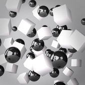 Abstract gray background made of white cubes and black spheres — Photo