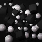 Abstract black background made of white spheres and black cubes — Stock Photo