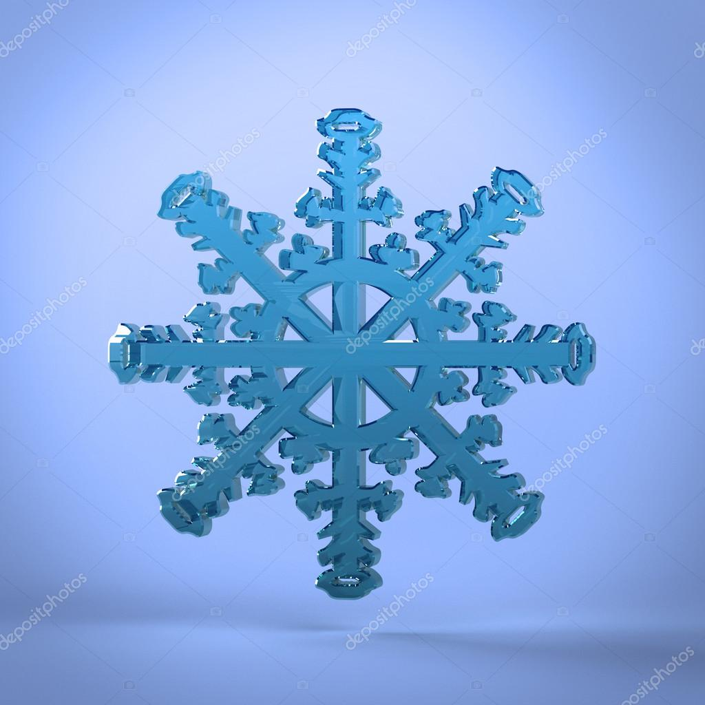 This illustration is a 3d render representing a snowflake — Lizenzfreies Foto #17689715