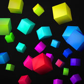 Abstract black background made of color cubes — Stock Photo