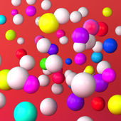 Abstract red background made of white and color spheres — Stock Photo