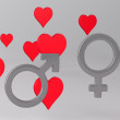 Background with Hearts and Gender Symbols — Stock Photo #20274445