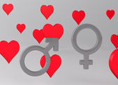 Background with Hearts and Gender Symbols — Stock Photo