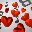 Background with hearts and musical notes - Stock Photo