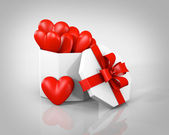 Gift boxes with hearts — Stock Photo
